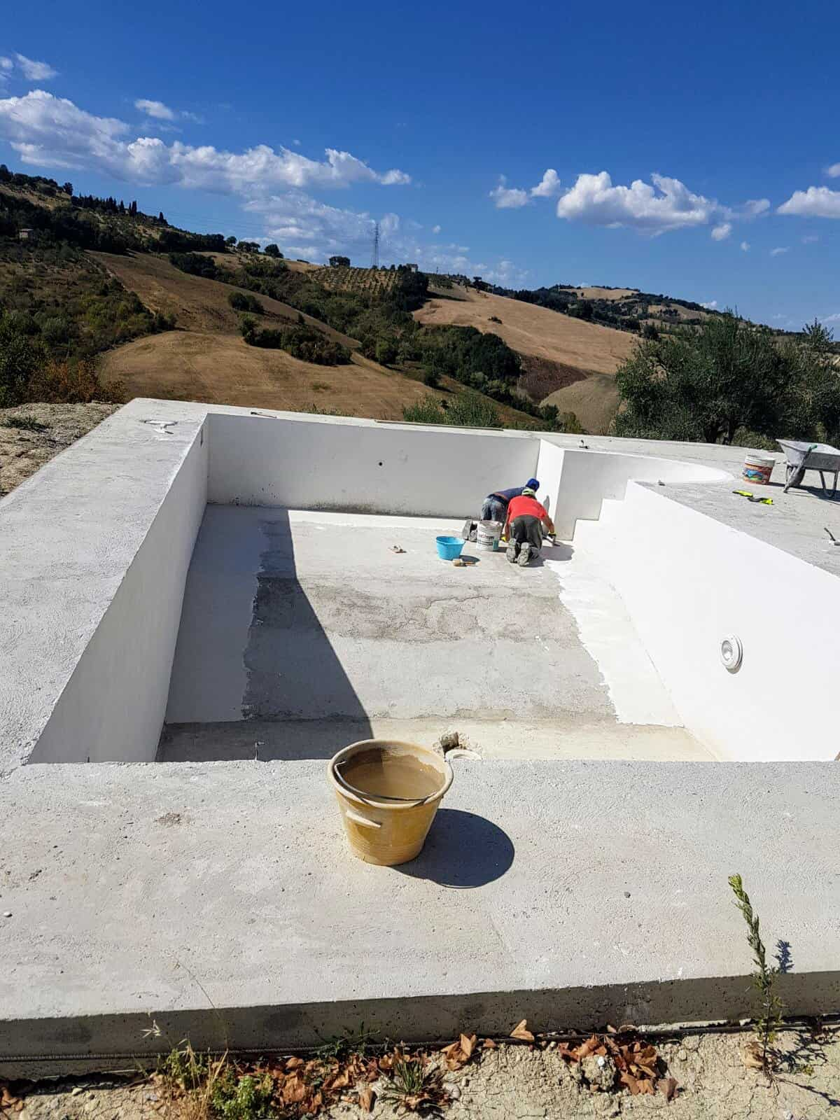 Pool Sealant Being Applied