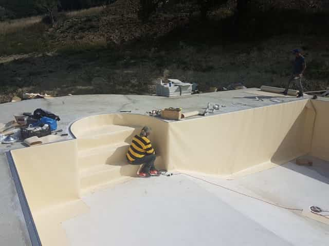 Working on Pool Liner Near Stairs