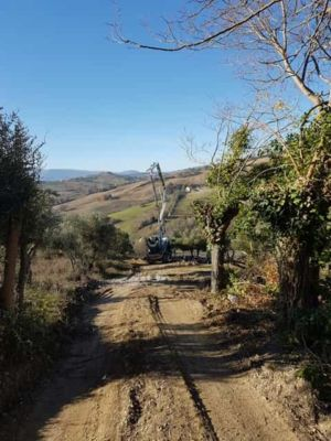 Concrete Crane Arriving at new house construction in Le Marche