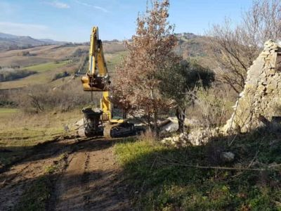 Equipment Arriving at new house construction in Le Marche