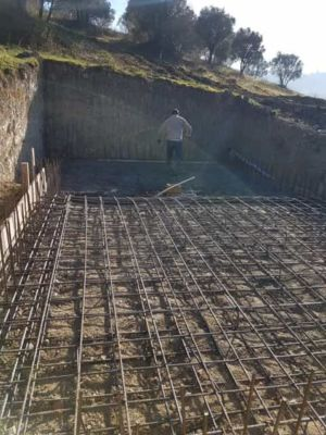Pool Concrete And Steel at new house construction in Le Marche
