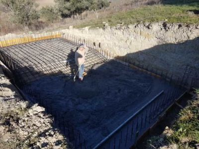 Pool Concrete at new house construction in Le Marche