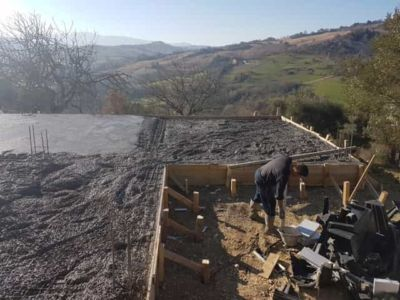 About Half The Foundation Finished at new house construction in Le Marche