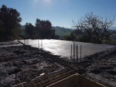 The Foundation Mostly Complete at new house construction in Le Marche