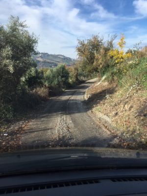 Coming Down the Road toa site of new construction in Le Marche