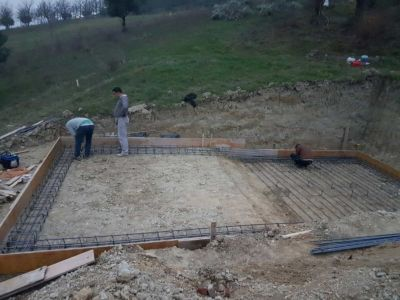 Preparing to steel structure for base of pool at building site in :Le Marche