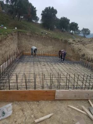 Steel for pool walls at building site in :Le Marche