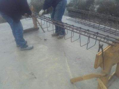 Rebar for columns for house in Le Marche