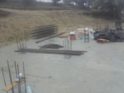 Column steel on foundation for house in Le Marche