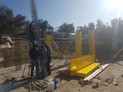 Adding More Steel to Column Base at new house construction site in Le Marche