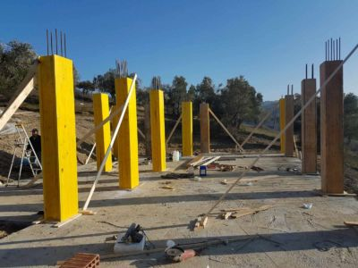 Form Bracing Being Added at new house construction site in Le Marche