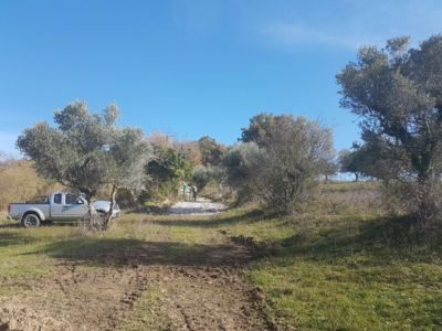 Property access looking uphill at building site in :Le Marche
