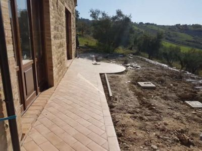 Across the Back of the House of new construction in Le Marche
