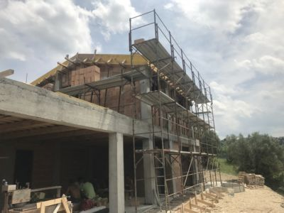 Along the Back of a new house being built in Le Marche, Italy
