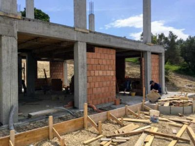 Back Wall Underway of new house being constructed near Macerata, Le Marche