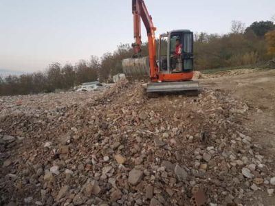 Backfill Work in front of a new house being built in Le Marche, Italy