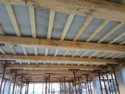 Beams With Ceiling Panels at new house construction in Le Marche