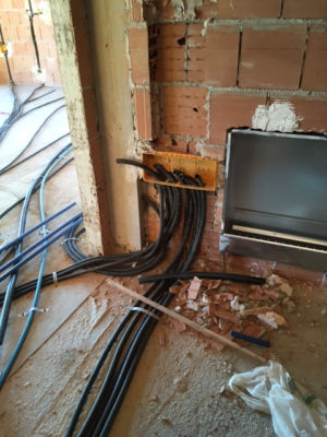 Black Electrical Conduit installed in a new house in Le Marche