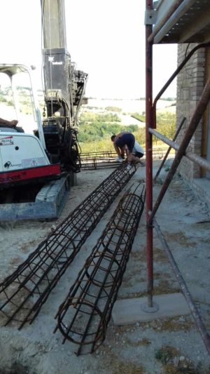 Column Steel Ready to Insert in Bores at a new house in Le Marche