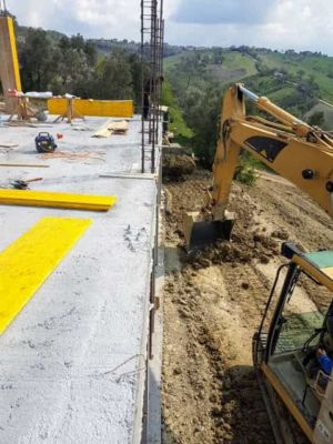 Column and Earth Work at new house construction site in Le Marche