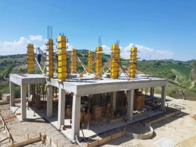 Column and Sidewalk Concrete Work at a new house being built in Le Marche