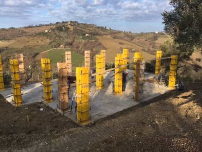 Concrete Forms And Hills at new house construction site in Le Marche