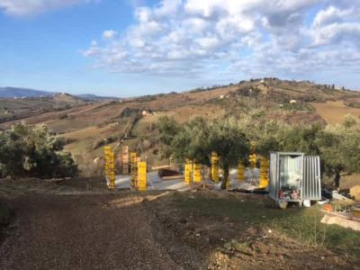 Concrete Forms From Top Of Driveway at new house construction site in Le Marche