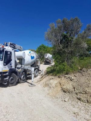 Concrete Truck Arriving at a new house being built in Le Marche