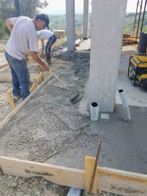 Concrete with Ventilation Pipes surrounding a new house being built in Le Marche