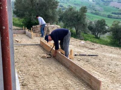 Continuing Form Behind House at a new house being built in Le Marche Italy