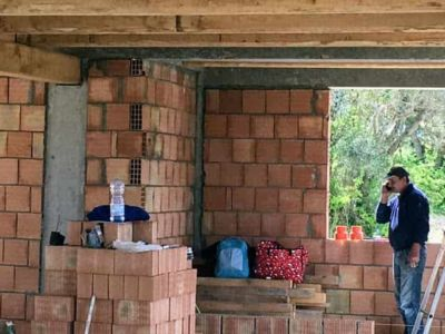 Corner of Master Bath of new house being constructed near Macerata, Le Marche