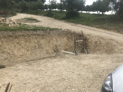 Cut Out Area for Parking at site of a new house being built in Le Marche, Italy