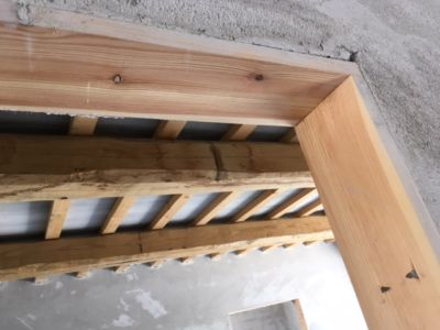Door Frame and Beams of a new house being built in Le Marche, Italy