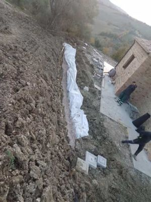 Drainage Trench on South Side of a new house being built in Le Marche, Italy