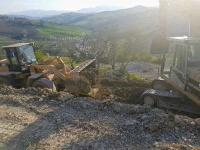 Excavation and Cherry Tree at house being constructed in Le Marche