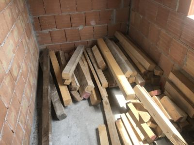 Extra Beams on Master Bath Floor  at site of a new house being built in Le Marche, Italy