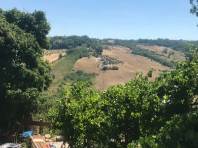 A house under construction in Le Marche viewed from Le Foglie Ridenti