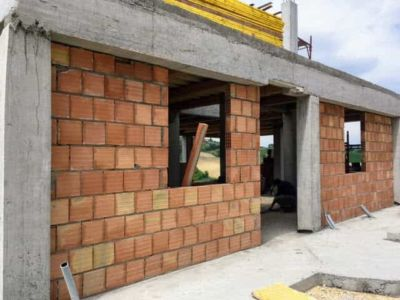 Front Nearly Done of new house being constructed near Macerata, Le Marche