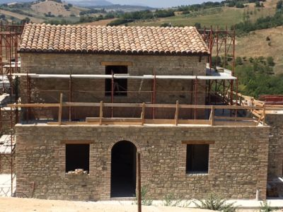 Front Side Roof Finished on a new house being built in Le Marche, Italy