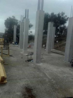 Columns Ready for Next Level at new house construction site in Le Marche
