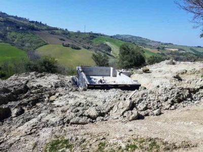 Grading Around the Pool at new house being constructed in Le Marche