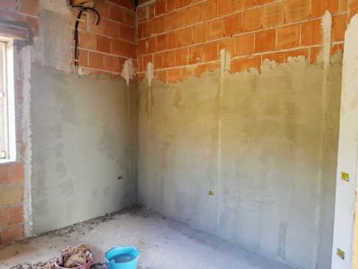 Guest Room Plaster inside a new house being built in Le Marche