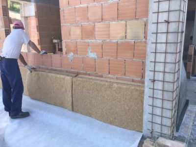 Hemp Being Installed on a new stone house in Le Marche