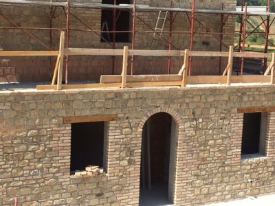 House Front on a new house being built in Le Marche, Italy
