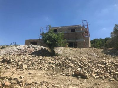 House from the Level Below a new house being built in Le Marche Italy