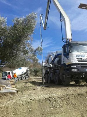 Crane and Concrete Truck