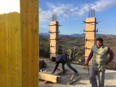 Preparing to Remove Concrete Forms at new house construction site in Le Marche