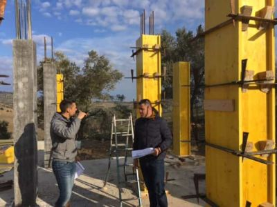 Some Columns Exposed at new house construction site in Le Marche