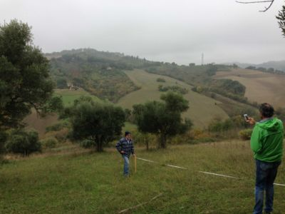 Kevin and Pippo on site of new construction in Le Marche
