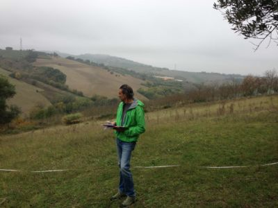 Kevin on site of new construction in Le Marche
